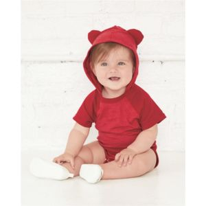 Fine Jersey Infant Short Sleeve Raglan Bodysuit with Hood & Ears Thumbnail